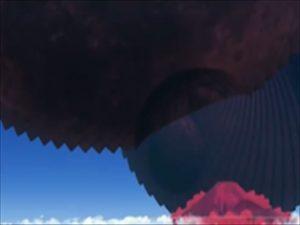 富士山、黒い月