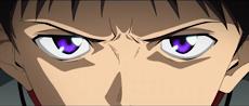目が紫に光っているシンジ